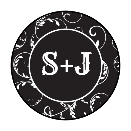 Black and White Monogram Fancy Envelope Seal