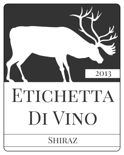 Elk Silhouette Wine Bottle Label