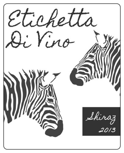 Zebra Wine Bottle Label