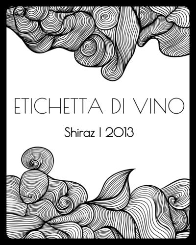 Black & White Swirl Border Wine Bottle Label
