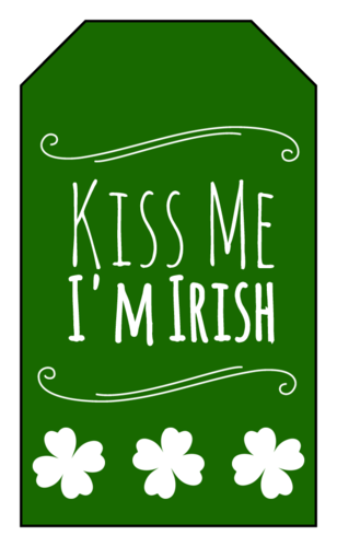 """Kiss Me I'm Irish"" St. Patrick's Day Gift Tag"