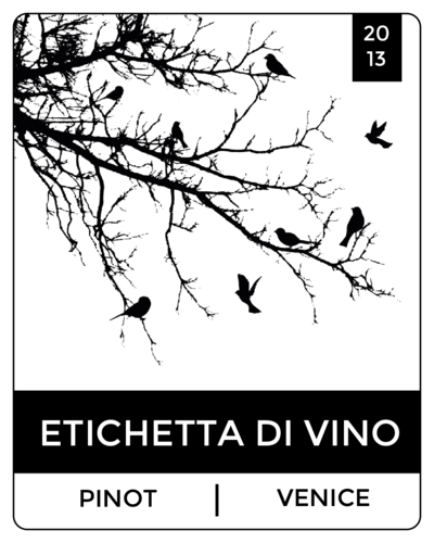 Bird Tree Silhouette Wine Bottle Label