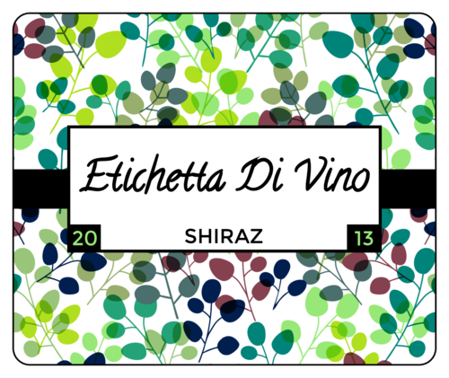 Colorful Branch Wine Bottle Label