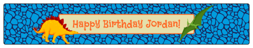 Dinosaur Birthday Water Bottle Label