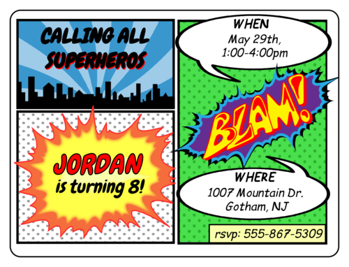 Comic Book Birthday Invite