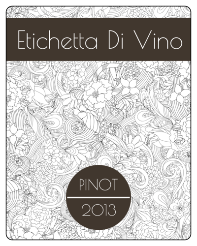 Floral Outlines Wine Bottle Label