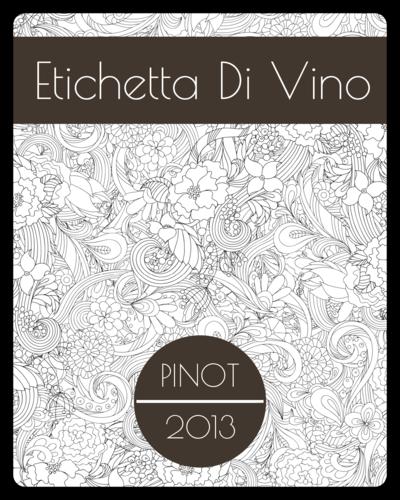 Floral Outlines Wine Bottle Label