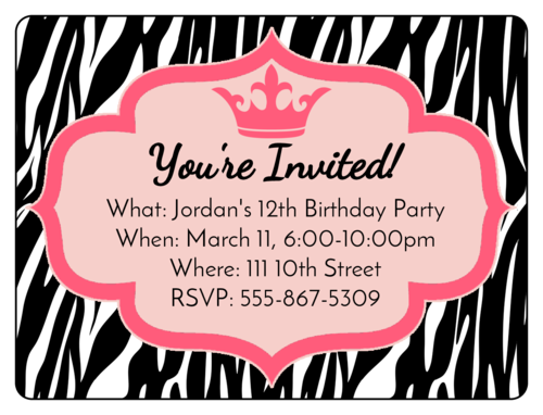 Zebra Print Birthday Invite