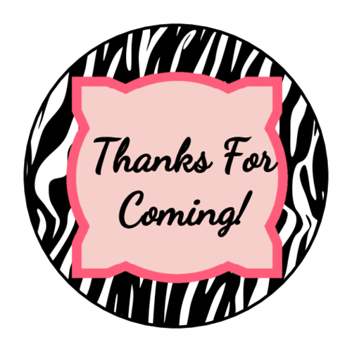 Zebra Birthday Goody Bag Label