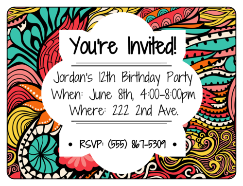 Colorful Birthday Party Invite