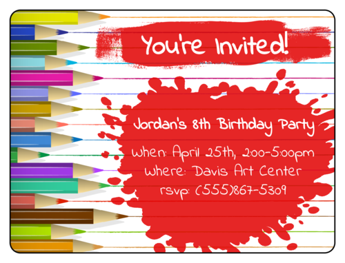 Artist-Themed Birthday Party Invite