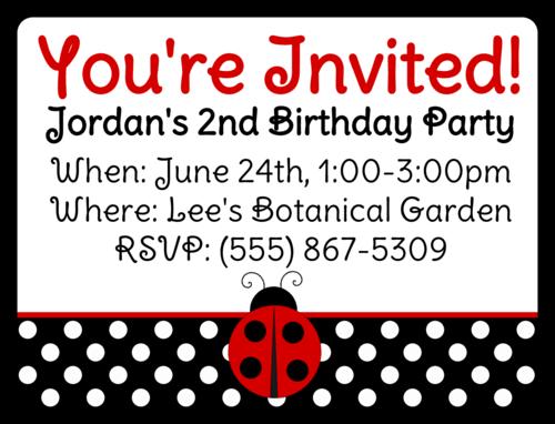 Ladybug Birthday Invite