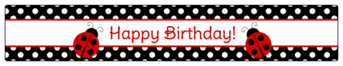 Ladybug Birthday Water Bottle Label