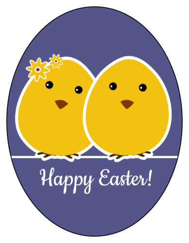 Happy Easter Chicks Label