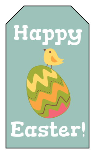 """Happy Easter"" Chick & Egg Gift Tag"