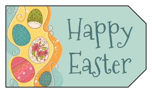 "Colorful Eggs ""Happy Easter"" Gift Tag"