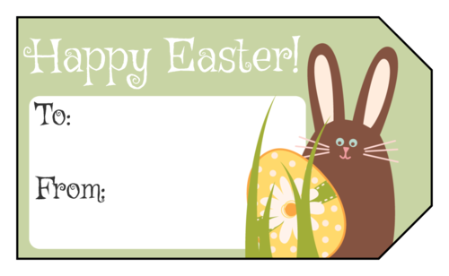 """Happy Easter"" Bunny & Egg Gift Tag"