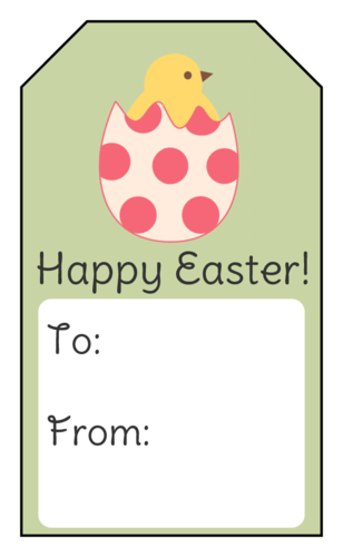 """Happy Easter"" Hatching Chick Gift Tag"