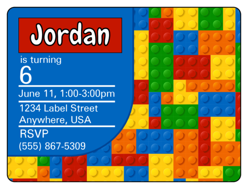 Builder's Birthday Party Invite