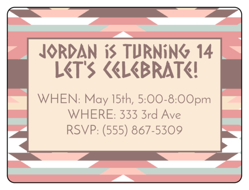 Tribal Birthday Party Invite