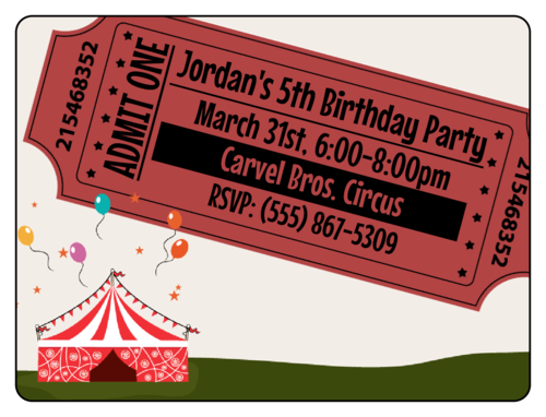 Circus Birthday Party Invite