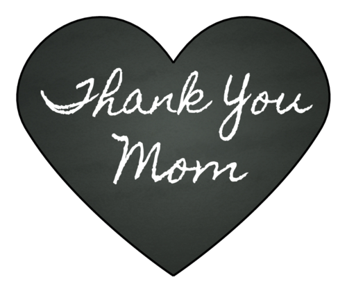 """Thank You, Mom"" Chalkboard Heart Sticker"