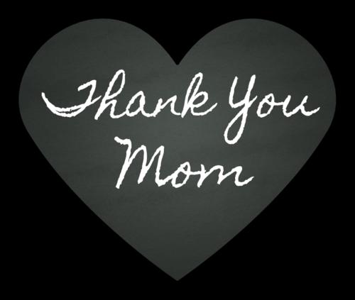 """""""Thank You, Mom"""" Chalkboard Heart Sticker"""