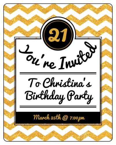 Gold Glitter Chevron Wine Bottle Party Invitation Label
