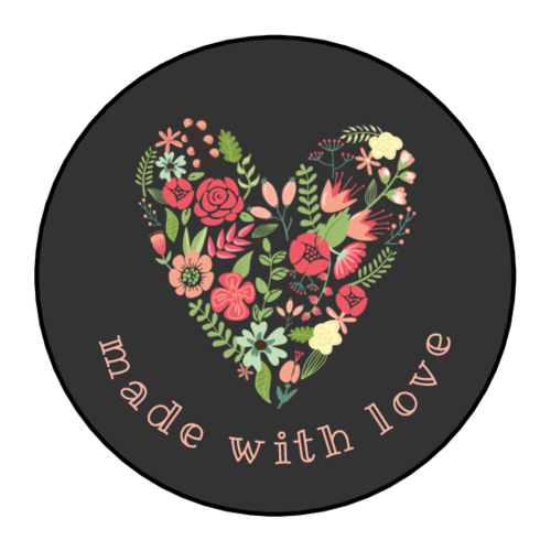"""""""Made with Love"""" Floral Heart Label"""