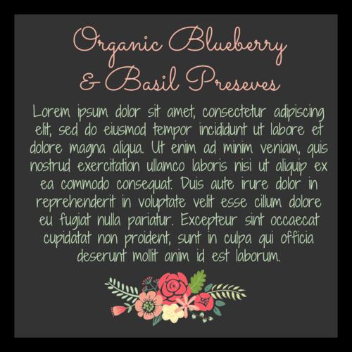 Floral Canning Preserves Jar Back Label