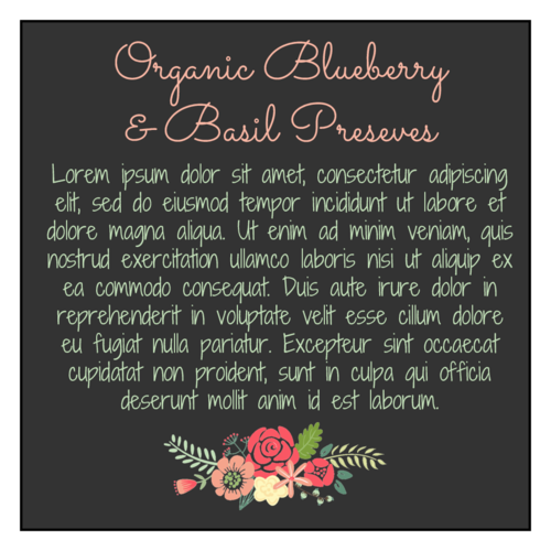 Floral Canning Preserves Jar Back Label