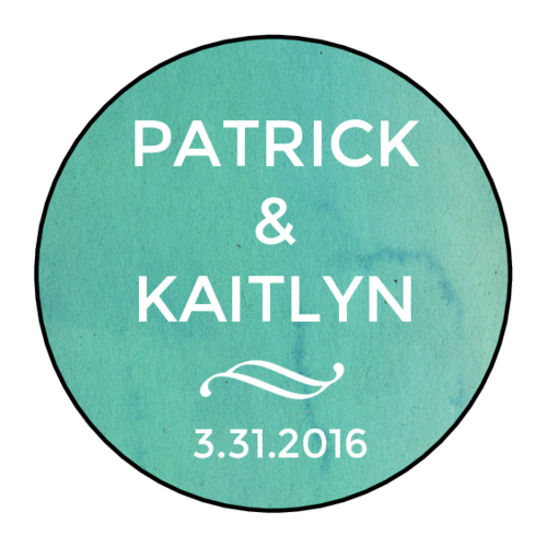 Blue Watercolor Wedding Announcement Label