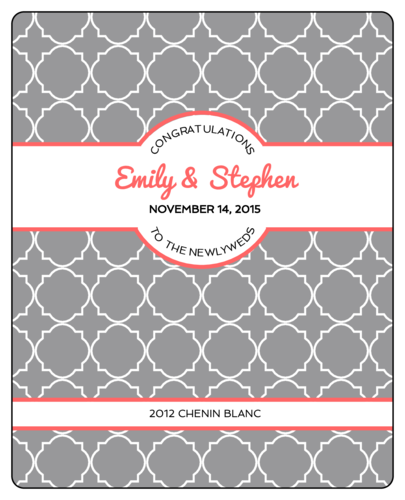 Quatrefoil Wedding Wine Bottle Label