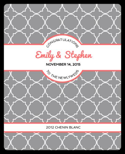 Quatrefoil Wedding Wine Bottle Label