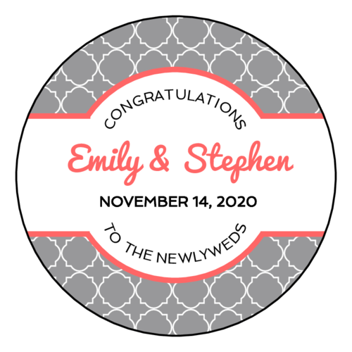 Quatrefoil Wedding Newlywed Sticker