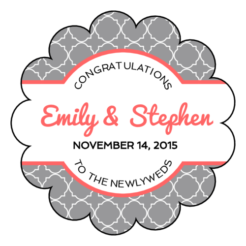 Quatrefoil Scalloped Wedding Label