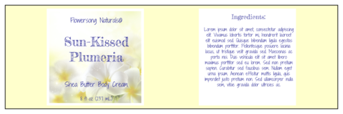 Plumeria Shea Butter Full Wrap Label
