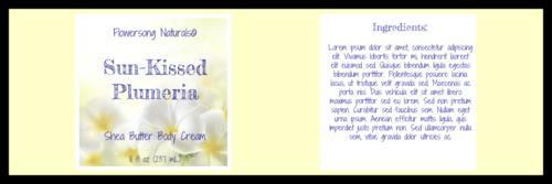 Plumeria Shea Butter Full Wrap Label