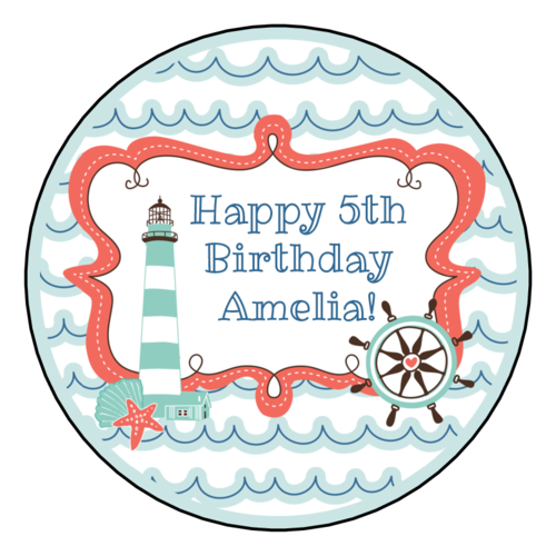 Nautical Birthday Circle Label