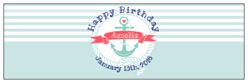 Striped Nautical Birthday Water Bottle Label