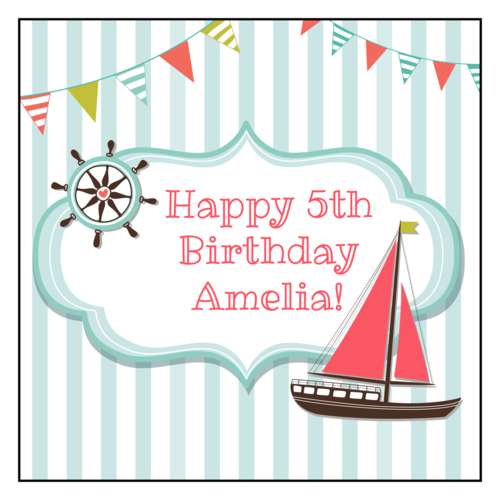 Sail Boat Birthday Label