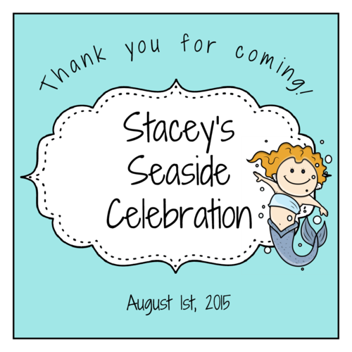 Mermaid Birthday Favor Label