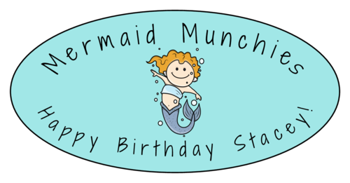 Mermaid Birthday Snack Label