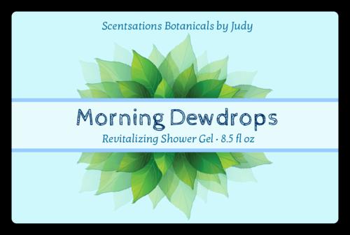 Dew Leaves Shower Gel Label