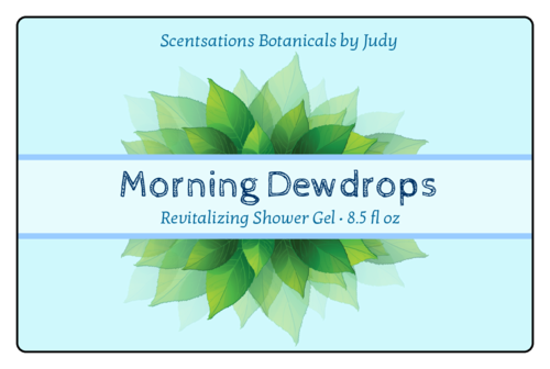Dew Leaves Shower Gel Label