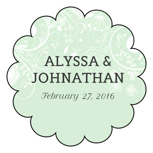 Floral Scalloped Wedding Label
