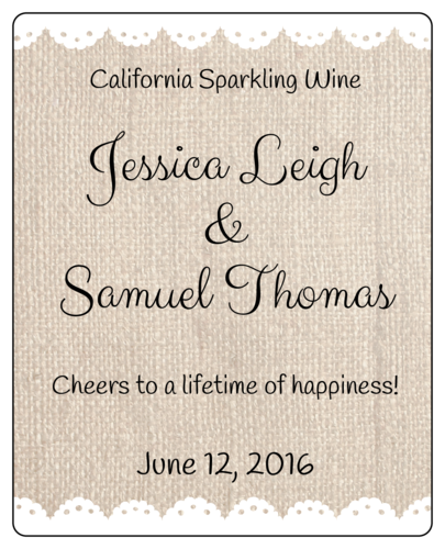 Burlap Wedding Wine Bottle Label