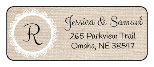 Burlap Monogrammed Address Label