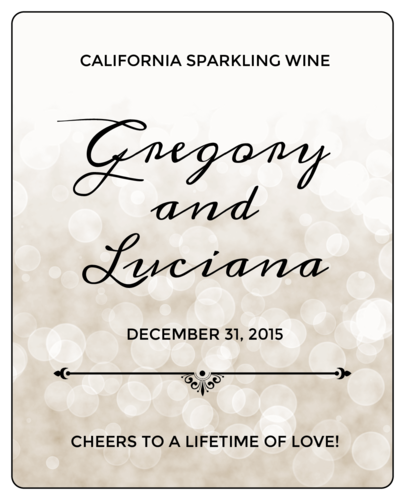 Bokeh Wedding Wine Bottle Label