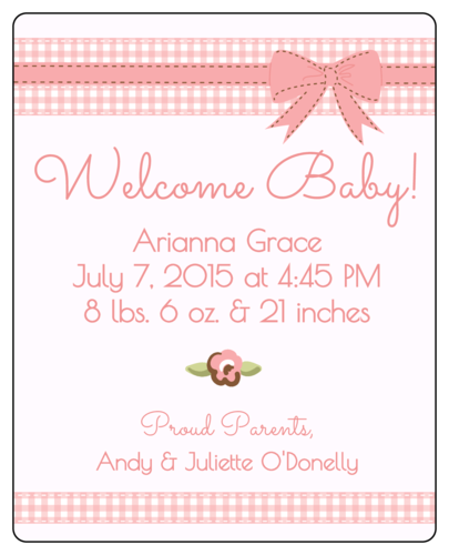 Birth Announcement Wine Bottle Label